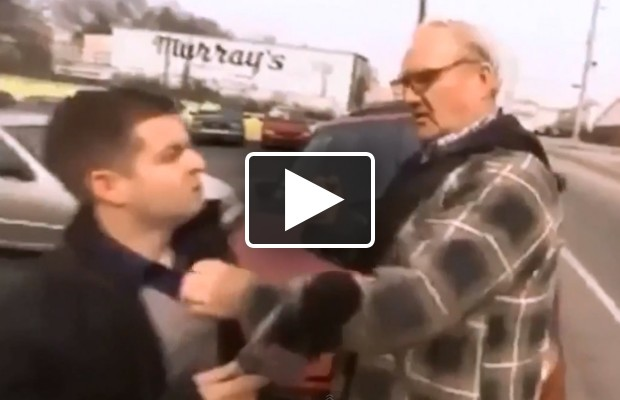 Old guy punches reporter